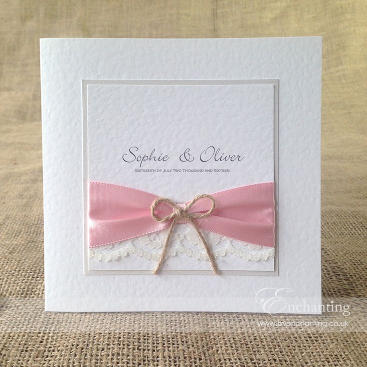 wedding invitation tied with ribbon%0A The Sugar Plum Collection  Classic Fold Invitation   Featuring pink pastel  ribbon  ivory lace