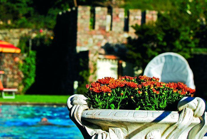 Blumenarragements im Garten des Lindenhof