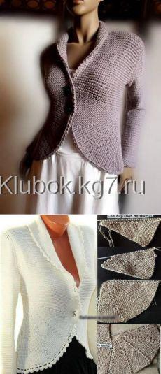 Жакет платочной вязкой из пряжи «Fabel»   Клубок