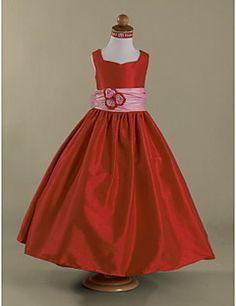 Lanting Bride A-line / Princess Floor-length Flower Girl Dress - Taffeta Sleeveless Queen Anne / Straps withBow(s) / Flower(s) / Sash / – USD $ 69.99