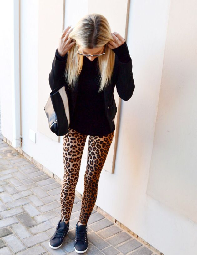 Leopard print leggings from Mr.P. Black high top sneakers from Ackermans, black top from ZARA, blazer from Mr.P. Bag from ZARA, glasses from Carrera #leopardprint