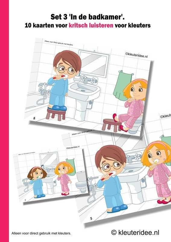 Kritisch luisteren set 3 in de badkamer 10 kaarten en handleiding , kleuteridee.nl , critical listening preschool, free printable