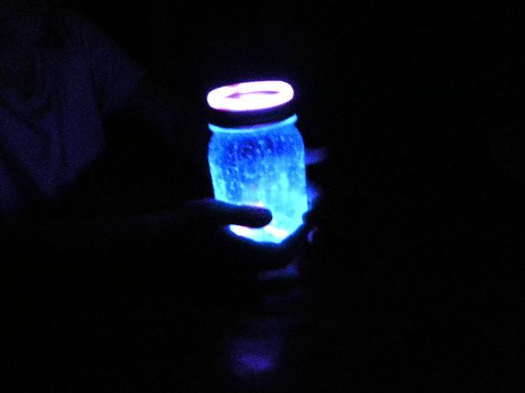 Glow in the dark jars (with sticks!) no paint or black light needed!  Super easy and COOL!