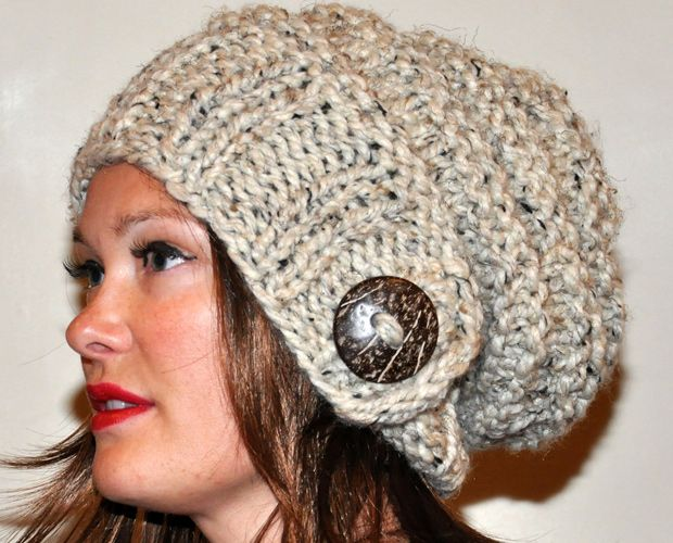 neutral earth colors button 100% wool etsy beanie