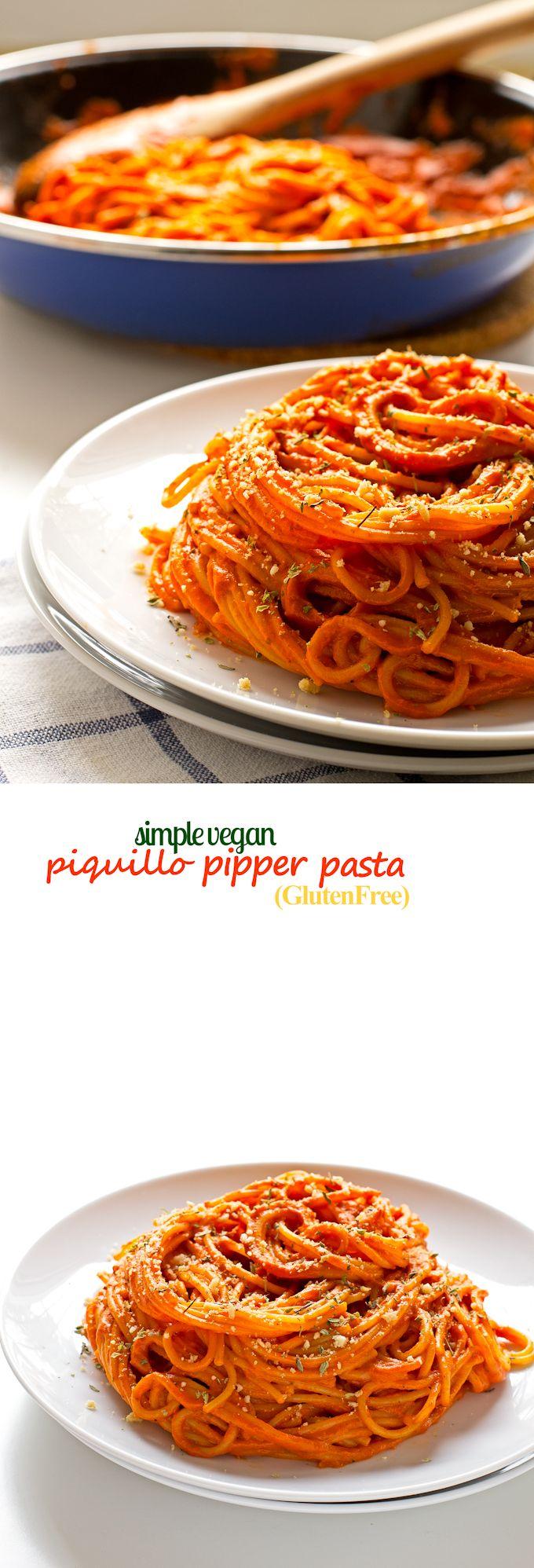 (Vegan and GF) Simple Vegan Piquillo Pepper Pasta (GF) #vegan #glutenfree
