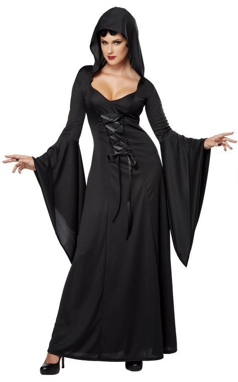 Women's Black Hooded Robe Costume - Candy Apple Costumes - Skeleton and Grim Reaper Costumes