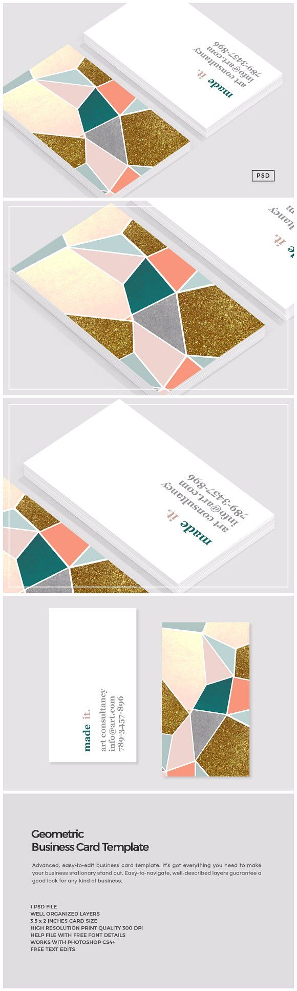Geometric Business Card Template by The Design Label on @creativemarket
