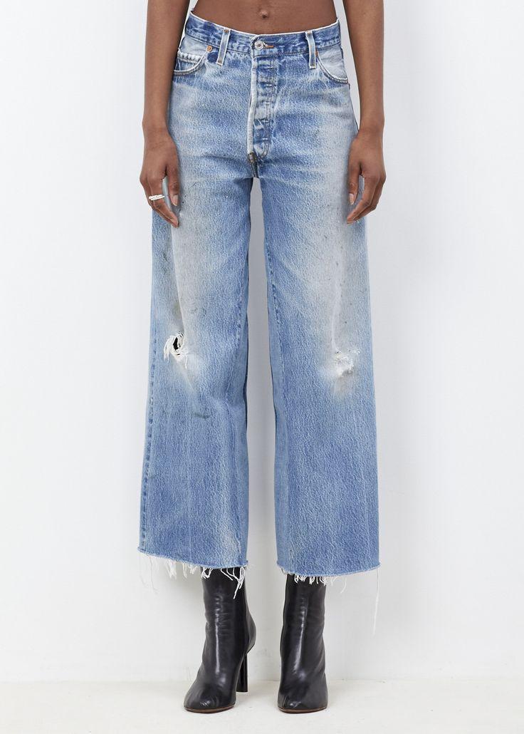 Totokaelo - RE/DONE Denim High Rise Wide Leg Crop Destruction Jean