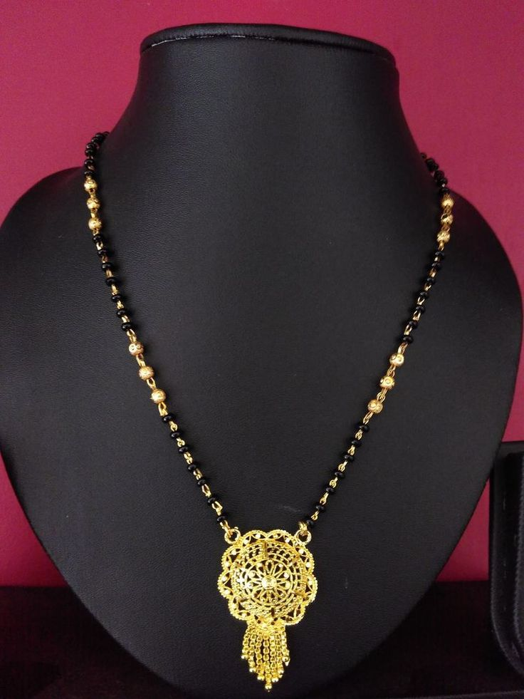22k gold plated maharastrian mangalsutra pendant with balck beads chian