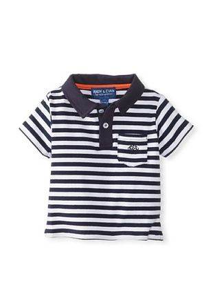 57% OFF Andy & Evan Boy's Nick-Nack Polo (Navy Stripe)
