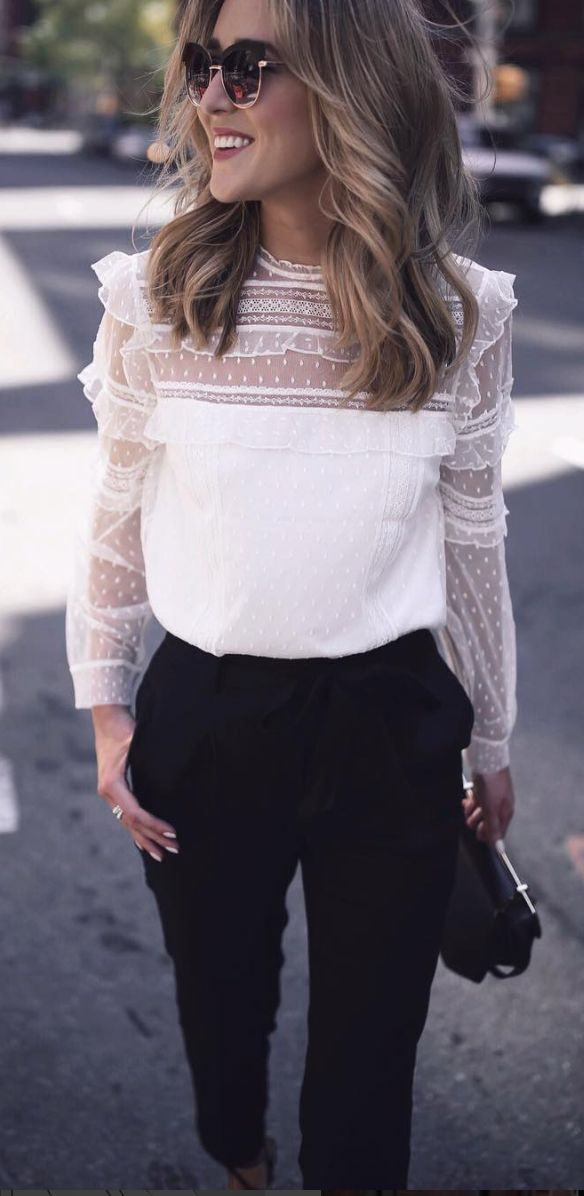 #fall #outfits women's white illusion crew-neck long-sleeved blouse