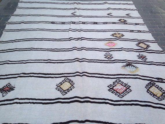 75 years old Manisa Linen Kilim, Unique Flat Woven Kilim, Turkish Kilim, Decorative, Vintage Rug, 1940s, Black and White Striped Pattern.