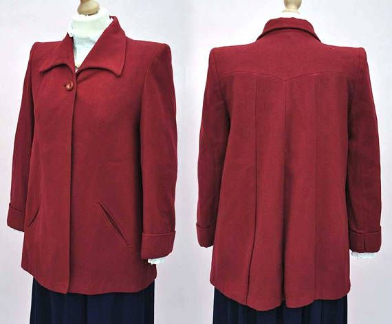 Vintage 1940s Burgundy Wool Swing coat