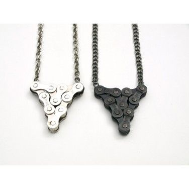 Tri-Luxe Necklace - Steel Bicycle Chain