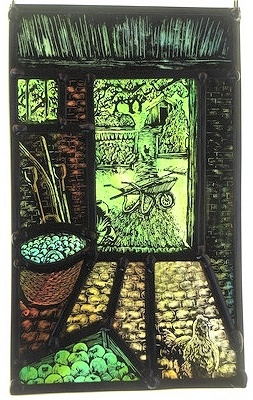 """Garden shed"" by stained glass artist Tamsin Abbott"