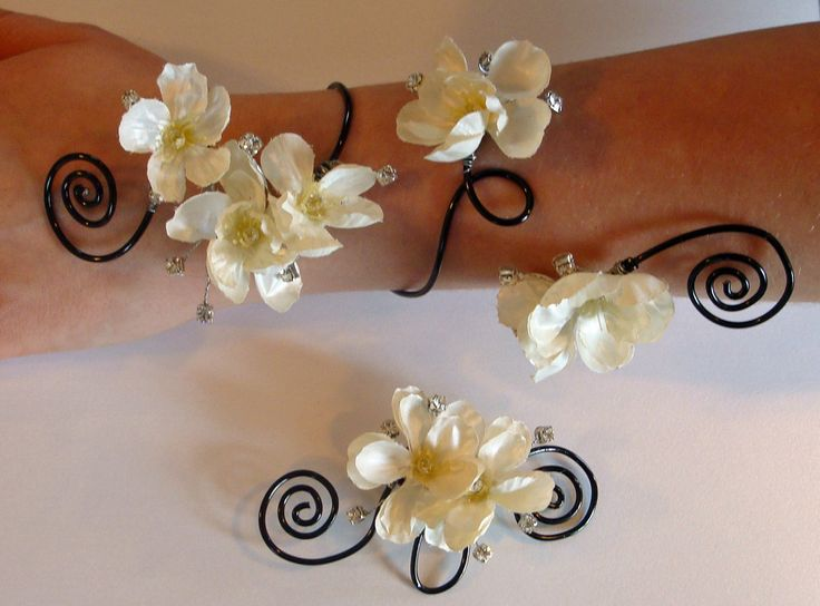 Hand painted pearl silk flower corsage arm band and boutonniere set, with rhinestone accents.
