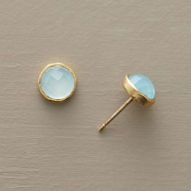 Faceted chalcedony domes framed by brushed, 18kt vermeil bezels. Handmade Sundance exclusives on 18kt vermeil posts. 5/16