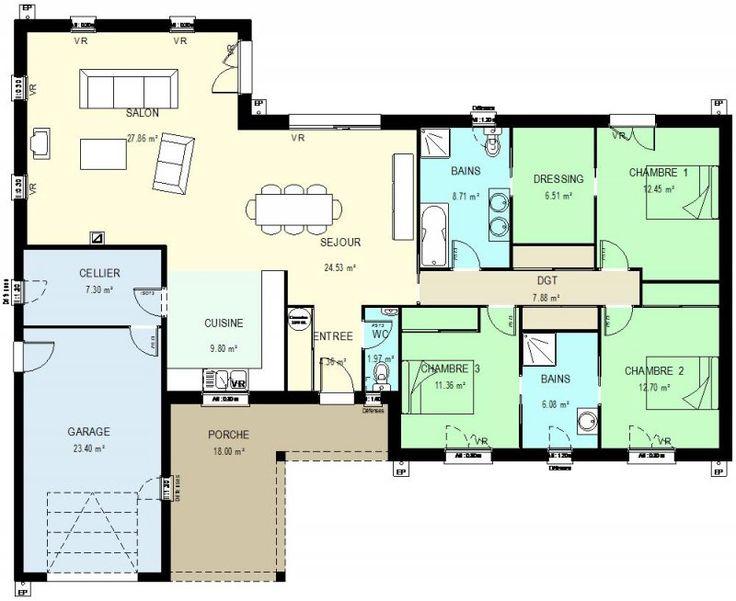97 best plan de maison sur 150m2 de terrain images on - Plan de maison plain pied 150m2 ...
