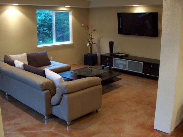 Concrete floors in homes family room floor pictures for Concrete floor living room ideas