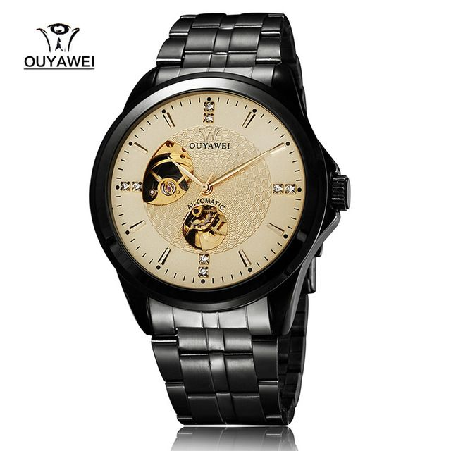 Brand OUYAWEI 1415 Mens Half Cut-out Mechanical Wrist Watches with Stainless Steel Strap Fashion Mens Watches Relogio Masculino