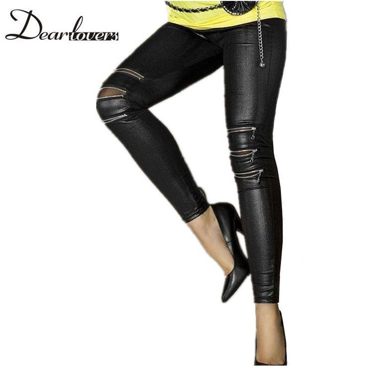 Fashion autumn Black Faux Leather leggings punk Zip-front Women leather legging pants women atacado roupa feminina LC7780