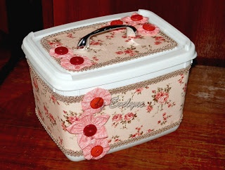 ice cream pot recycling (fabric, trim, buttons, drawer pull)