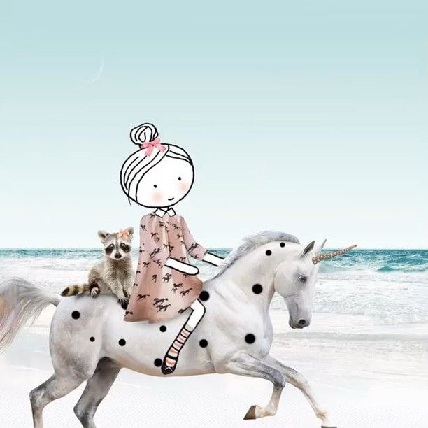 Stay magical  #unicorn #takearide #dots #beach #horse #believeinmiracles #raccoon #ibelieveinunicorns #tgif #drawing #sketching #video #gif #gifart #photoshop #illustration #instavideo #collage #15seconds #animation