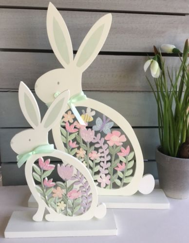 Wood #fretwork pastel yellow bunny easter #decoration gisela graham #vintage rabb,  View more on the LINK: http://www.zeppy.io/product/gb/2/191800604530/