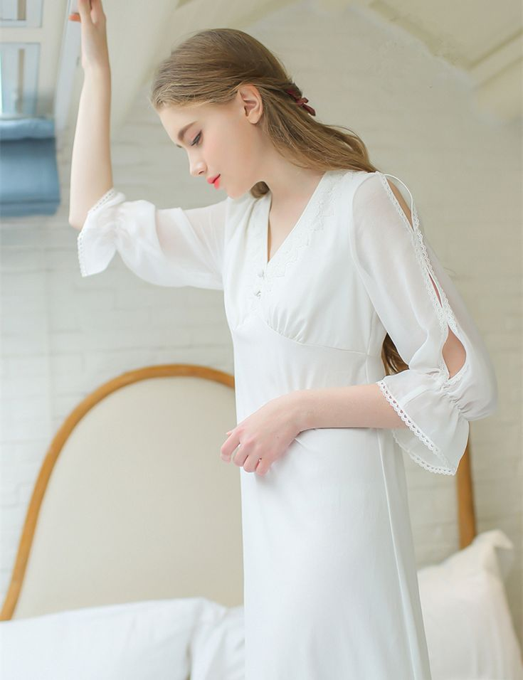 Long sleep dress Vneck lace white home clothes Comfortable That`s just superb! Visit us