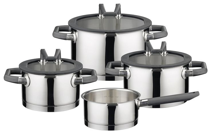 ELO Premium Black Pearl Stainless Steel 7-Piece Pots and Pans Induction Cookware Set with Easy-Pour Rim, Patented Stand-by Lids, Integrated Measuring Scale and Heat-Resistant Handles *** You can get more details by clicking on the image.