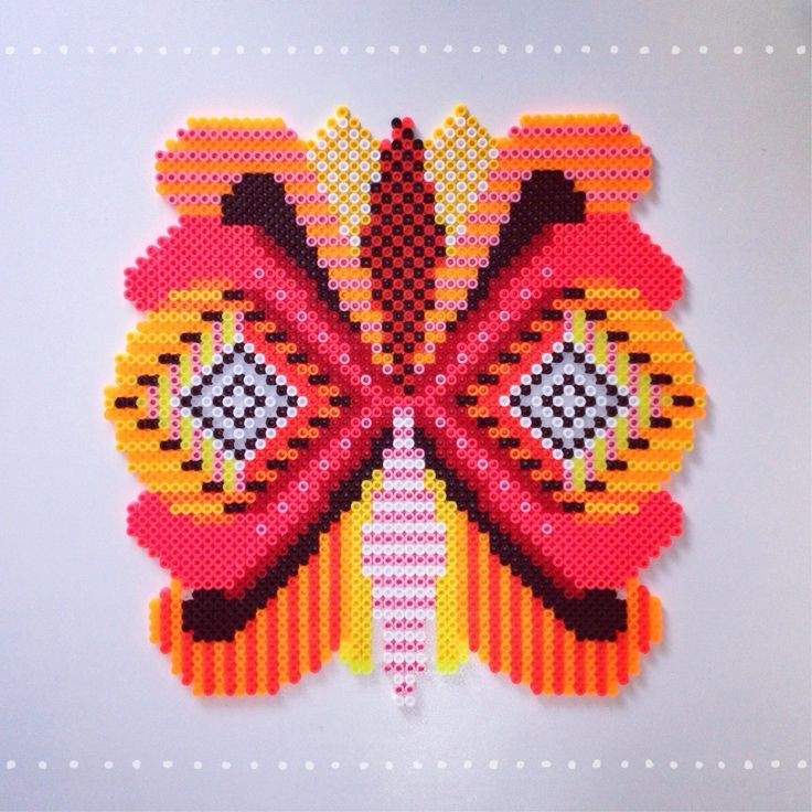Butterfly decoration hama beads, perleplade by Sara Seir