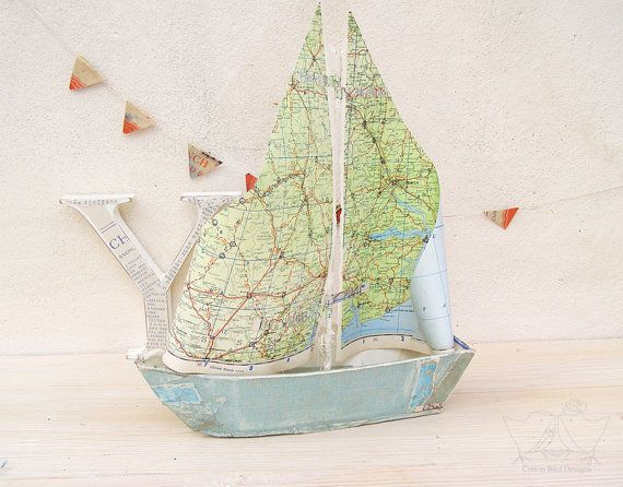 Sail Boat with Vintage Map