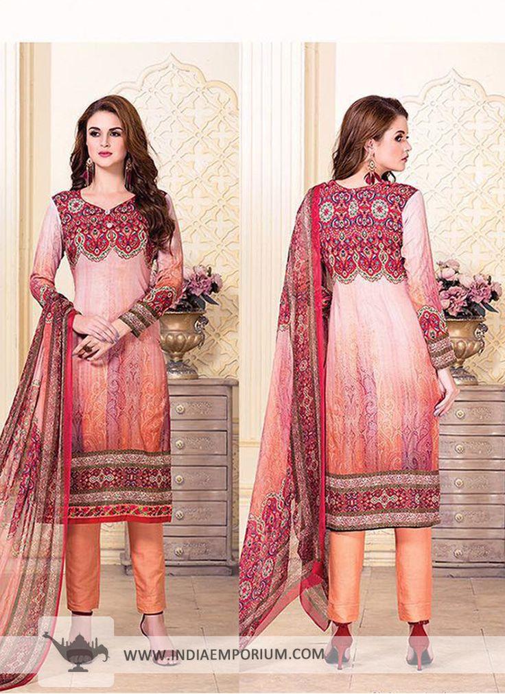 Charming Cotton & Satin Peach Printed Pant #Suit  #salwarkameezsuit #likeforlike #onlineshopping #indiaemporium