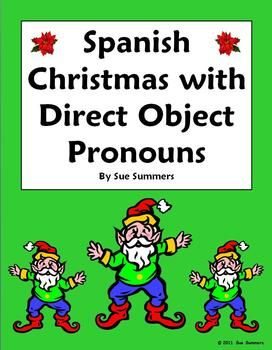 Spanish Christmas Vocabulary and Direct Object Pronouns 15 Sentences by Sue Summers