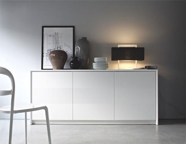 Calligaris Password Modern 3 Door Sideboard in Matt White or Matt Taupe