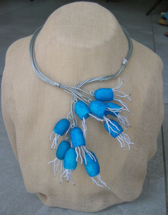 Necklace from silkworm cocoons and silver aluminum wire