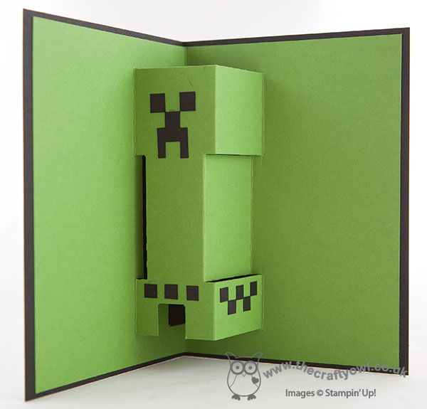 Minecraft Creeper Pop-Up Birthday Card - inside Simple outside, with pop up creeper inside - genius! Joanne James Stampin' Up! UK Independent Demonstrator, blog.thecraftyowl.co.uk