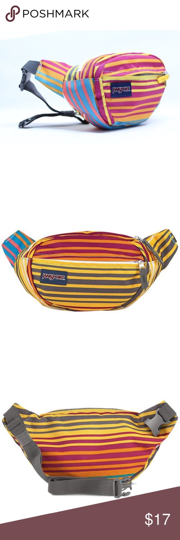Jansport Fifth Avenue Multi Sunset ST Fanny Pack Stripe pattern varies from stock photos. Have in primarily pink or primarily yellow stripe. Price for one. 🆕 W/ RETAIL TAGS, NEVER WORN ✖️NO TRADES • NO PP • NO MERC@RI  ✔️ADD'L INFO/PICS BY REQUEST ✔️POSTED = AVAILABLE  ✔REASONABLE OFFERS WELCOMED ✔BUNDLE 2+ FOR 10% DISCOUNT Jansport Bags