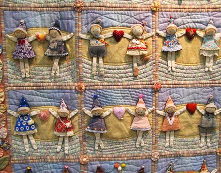 "QUILT: ""With You"" by Tomoko Kamata, had block after block of these little people in all kinds of poses. Many Quilt Photos from the Tokyo International Quilt Festival 2015."