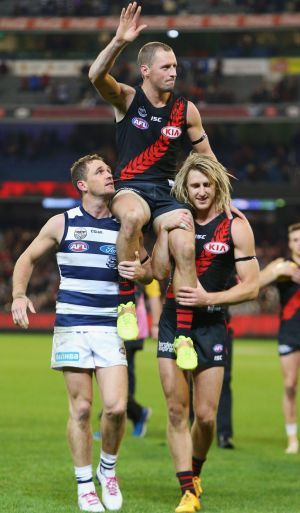 Despite the Bombers beating us this was great to see at the end of the match.. James Kelly 300. score : Cats 93 - Bombers 110.