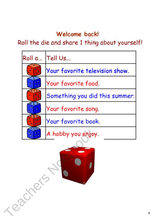 Back to School Smartboard DIce Activity product from Kates-Middle-School-Math on TeachersNotebook.com