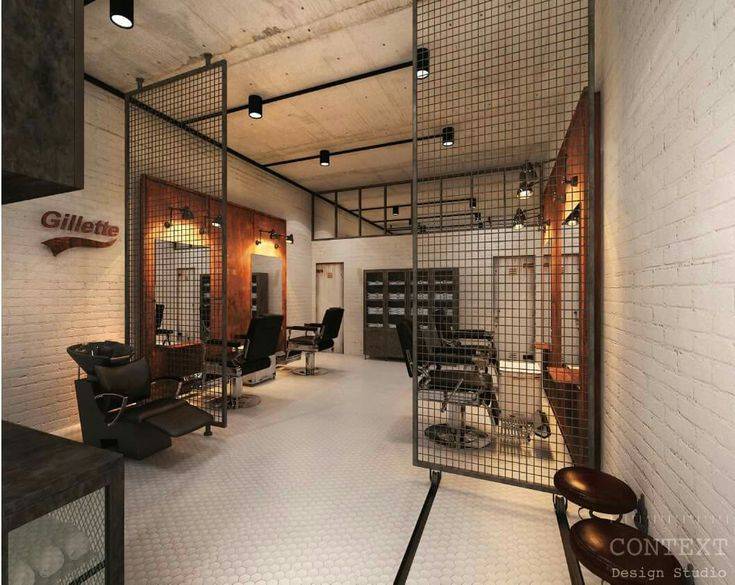 that screen as a divider between cutting floor and reception - Barbershop Design Ideas