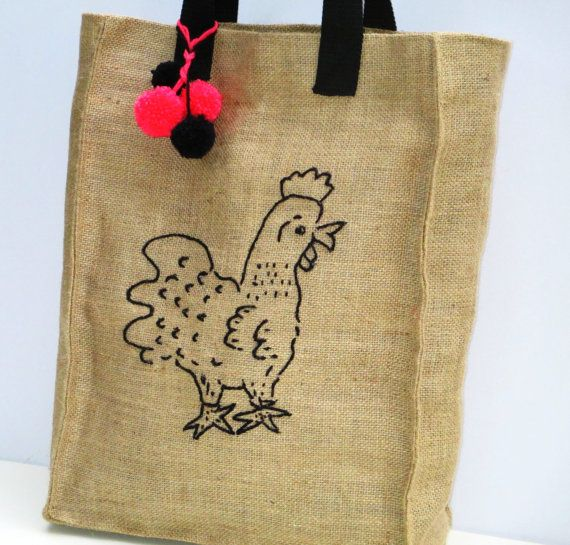 Chicken Jute market tote farmers bag chic stylish by Apopsis