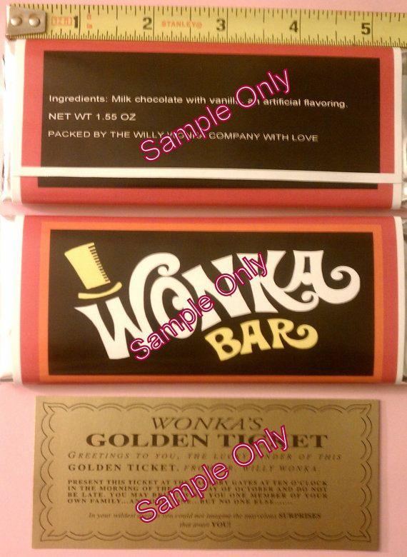 1.55  oz. Willy Wonka chocolate bar wrapper & golden ticket-Mini - no chocolate included on Etsy, $2.50