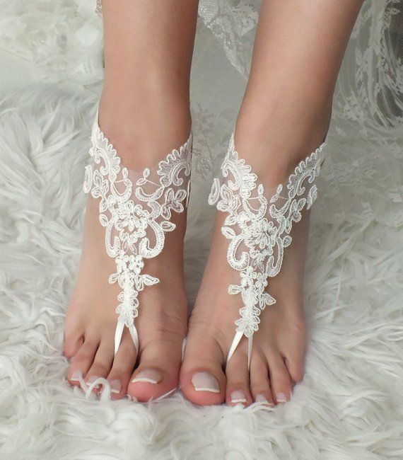 EXPRESS SHIPPING White or ivory Beach wedding barefoot sandals wedding shoes prom party lace barefoot sandals bride bridesmaid gift Prom
