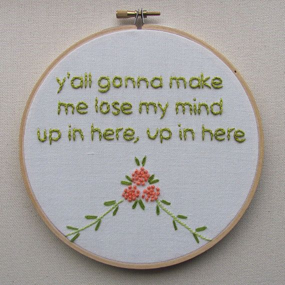 Embroidered Rap Lyrics Party Up by DMX  In by nodiggitynodoubt