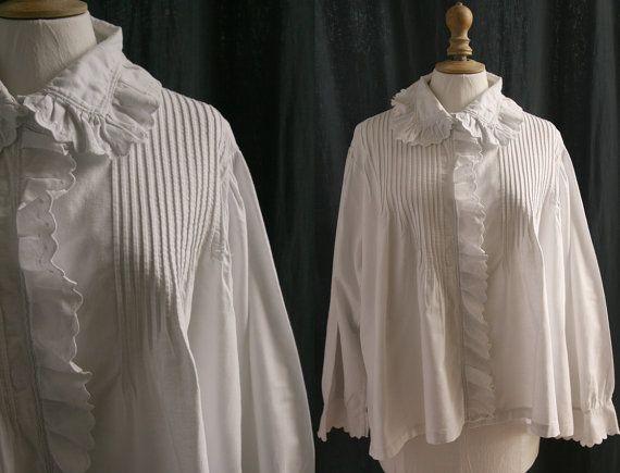 Ancien corsage blanc manches longues pilou par SergineBroallier