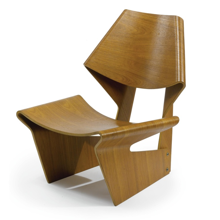 GRETE JALK CHAIR  teak plywood 29 1/2 in. (74.9 cm) high ca. 1960 manufactured by P. Jeppesens Møbelfabrik A/S, Denmark