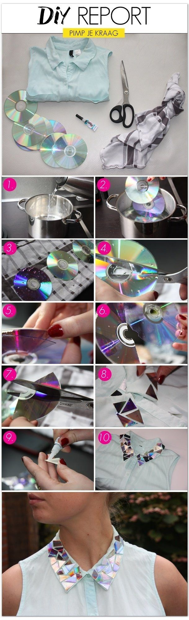 Add a shiny collar to your boring blouse with old CDs. | 41 Awesomely Easy No-Sew DIY Clothing Hacks