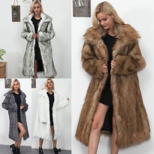 2018 Womens Winter Fashion Soft Faux Fur Parka Outwear Overcoat Jacket Long Coat  | eBay